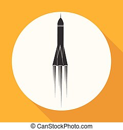 Icon Rocket on white circle with a long shadow