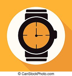 Icon wristwatch on white circle with a long shadow