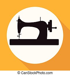Icon Sewing Machine on white circle with a long shadow