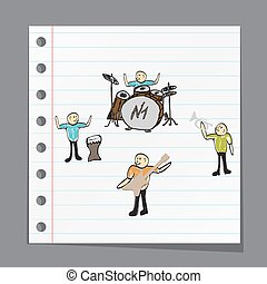 a group of musicians playing music illustration