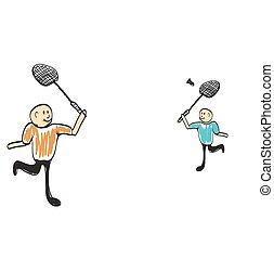 man playing tennis illustration