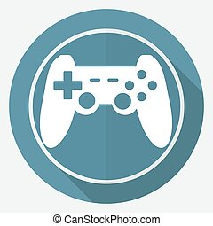game joypad icon on white circle with a long shadow