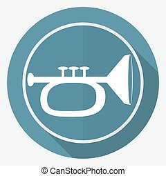 Icon trumpet on white circle with a long shadow