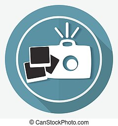 Icon Camera on white circle with a long shadow