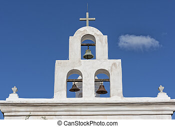 Bell Tower At San Xavier Mission In Tucson Arizona