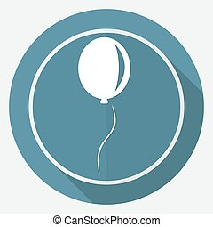 balloon icon on white circle with a long shadow