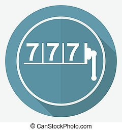 Icon 777 on white circle with a long shadow