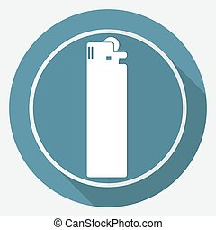 Icon lighter on white circle with a long shadow