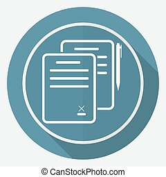 Icon Document on white circle with a long shadow
