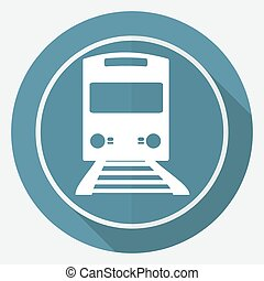 Icon Train on white circle with a long shadow