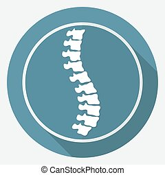 Icon Spine diagnostics on white circle with a long shadow
