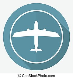 Icon airplane on white circle with a long shadow