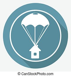 Icon Parachute on white circle with a long shadow