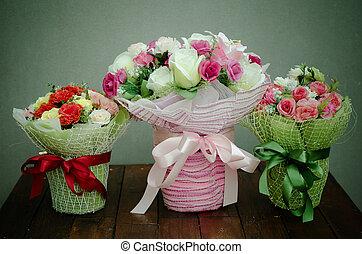 Bouquet of fabric flower, still life flower