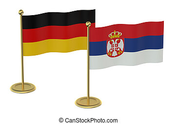 meeting Germany with Serbia concept isolated on white...