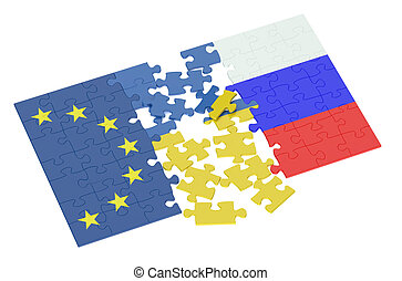 puzzles of Ukraine, Russia and EU concept isolated on white...