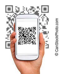 Scanning qr code with smart phone. Isolated over white.