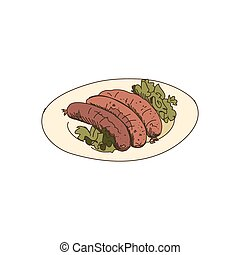 doodle grilled sausages isolated on the white background,...