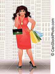 Plus size shop girl vector