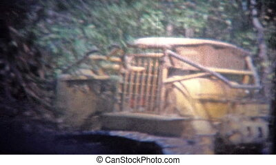 ARKANSAS, USA - 1965: Bulldozer - Original vintage 8mm home...