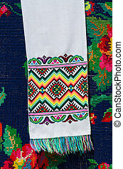 Belorussian towel with colorful geometric patterns on a...