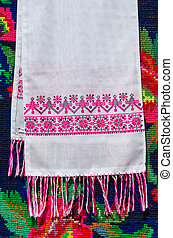 Belorussian towel with vintage ornament on the background of...