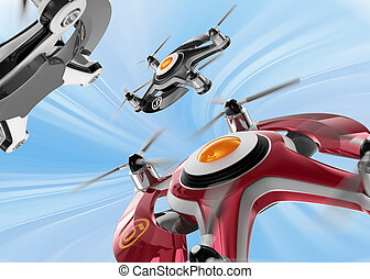 Racing drones chasing in the sky - Red racing drones chasing...