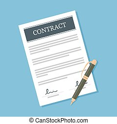 Contract - Signed contract with pen vector illustration...