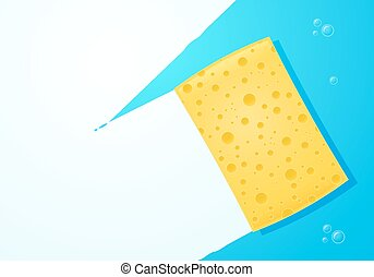 Yellow Sponge - Yellow sponge wiping glass Layered vector...