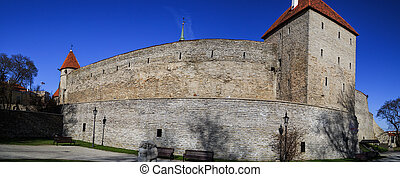 Tallin Walls - Outside view of ancient fortress walls with...
