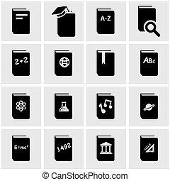 Vector black schoolbook icon set on grey background