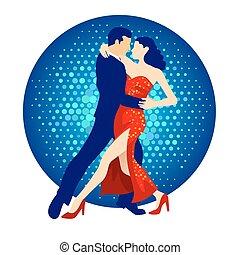 Tango Dancers - Illustration of tango dancers, man and woman...