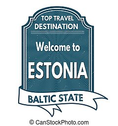 Estonia stamp - Estonia grunge rubber stamp on white...