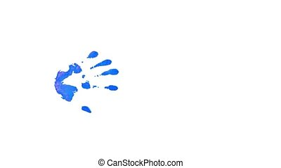 Prints Of Hands On A White Background. - On a white...