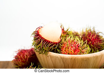 Fresh rambutan, tropical fruit.
