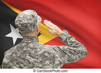 Soldier in hat facing national flag series - East Timor -...