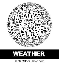 WEATHER. Concept illustration. Graphic tag collection....