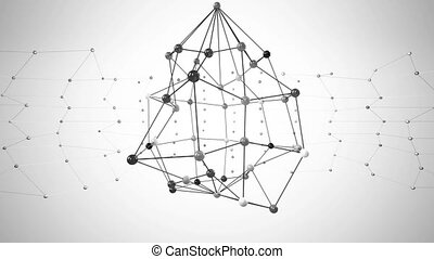Network structure black and white loop animation.