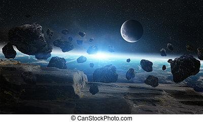 meteoryt, wstrząs, Na, planeta, ziemia, w, Przestrzeń,
