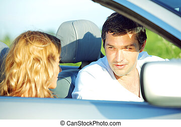 love in cabrio woman and man