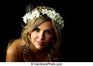 young women on black flowers in hair
