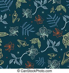 Vector Tropical Night Lineart Flowers Seamless Pattern...