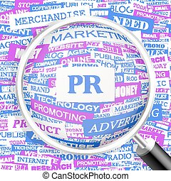 PR. Concept illustration. Graphic tag collection. Wordcloud...