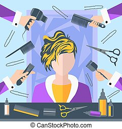 Set hairdressing objects, stylist, scissors, pins, combs, hairdryer