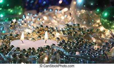 burning candles and christmas decoration loopable background