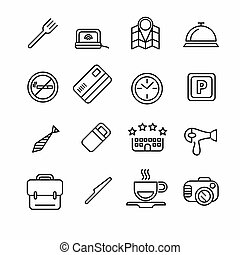 Hotel or apartments and travel icon set Elements for print,...
