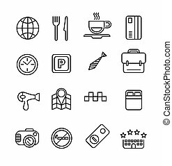 Hotel or apartments and travel icon set. Elements for print,...