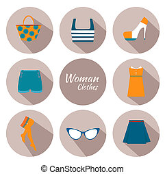 woman clothing icon set with dress, glasses, stockings, bag...
