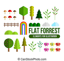 Forest flat elements set - Forest flat set. Beautiful...