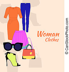 woman clothing set with dress, glasses, stockings, bag and...